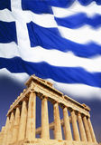 Greece - Acropolis - Athens - Flag Royalty Free Stock Photography