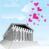 Greece acropolis with heart symbol of valentines day. Royalty Free Stock Image