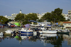 Greece, Alexandroupolis. Alexandroupolis, Greece - September 17, 2016: Unidentified people and boats, daily fish market sold from fishing boats in the harbor Royalty Free Stock Images