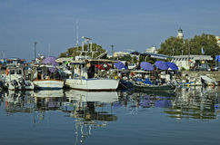 Greece, Alexandroupolis. Alexandroupolis, Greece - September 17, 2016: Unidentified people and boats, daily fish market sold from fishing boats in the harbor Royalty Free Stock Photography