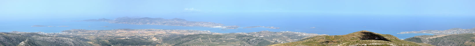 Greece, Antiparos panorama. Greace cyclades island: Paros and Antiparos wide panorama royalty free stock images