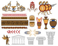 Greece architecture and ornaments color set Royalty Free Stock Images