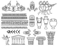 Greece architecture and ornaments  set Royalty Free Stock Photography