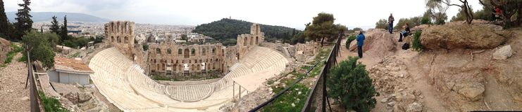 Greece Athens acropolis. Panorama view theater Royalty Free Stock Photos