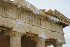 Historical monuments and temples in European capitals. Details of ancient buildings close-up. Greece, Athens, April 2018. Architecture of ancient Greece royalty free stock photo
