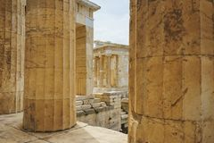 Historical monuments and temples in European capitals. Details of ancient buildings close-up. Greece, Athens, April 2018. Architecture of ancient Greece. Marble royalty free stock photos