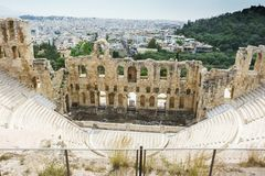Historical monuments and temples in European capitals. Ruins and attractions, a trip to Europe. Greece, Athens, April 2018. Architecture of ancient Greece stock photography