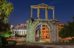 Greece, Athens. Arch of Hadrian at night Stock Image