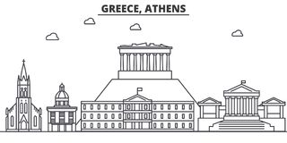 Greece, Athens architecture line skyline illustration. Linear vector cityscape with famous landmarks, city sights Stock Photography