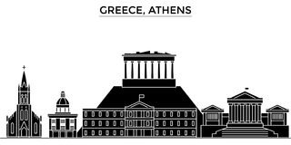 Greece, Athens architecture vector city skyline, travel cityscape with landmarks, buildings, isolated sights on Stock Photography