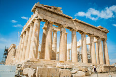 Greece, Athens, August 2016, The Acropolis of Athens, ancient citadel located on an extremely rocky outcrop above the city of Athe. Ns. Parthenon Stock Photos