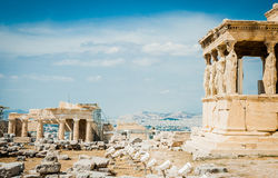 Greece, Athens, August 2016, The Acropolis of Athens, ancient citadel located on an extremely rocky outcrop above the city of Athe. Ns. Old Temple of Athena Stock Photo