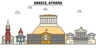 Greece, Athens. City skyline architecture . Editable Royalty Free Stock Photo
