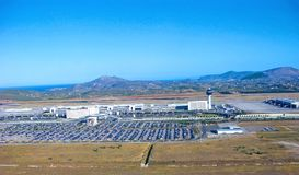 Athens airport, terminals and car parkings, aerial view. Greece, Athens International Airport Eleftherios Venizelos aerial view. Generic view with terminals, car stock images