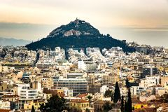 Greece, Athens, lycabettus, architecture, rock. Beautiful evening view of Lekabetus in Athens Stock Photo