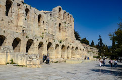 GREECE, ATHENS - MARCH 25, 2017: Odeon of Herodes Atticus. The Odeon of Herodes Atticus is a stone theatre structure located on the southwest slope of the Stock Images