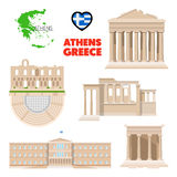 Greece Athens Travel Set with Architecture and Flag stock illustration