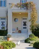 Elegant house entrance with cat, Athens wealthy suburbs Stock Images