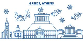 Greece, Athens winter city skyline. Merry Christmas, Happy New Year  Stock Photos
