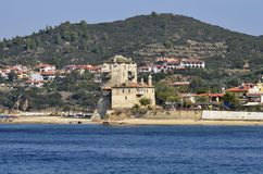 Greece, Athos Peninsula. Ouranoupoli village royalty free stock photo