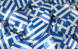 Greece Badges Background - Pile of Greek Flag Buttons. 3D Rendering Royalty Free Stock Image