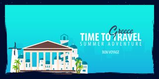 Greece banner. Time to Travel. Journey, trip and vacation. Vector flat illustration. Greece banner. Time to Travel. Journey, trip and vacation. Vector flat Stock Images