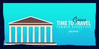 Greece banner. Time to Travel. Journey, trip and vacation. Vector flat illustration. Greece banner. Time to Travel. Journey, trip and vacation. Vector flat Royalty Free Stock Photography