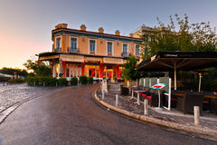 Greece. Bars and coffee shops in Thissio near ancient Agora in Athens Royalty Free Stock Photo