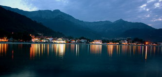 Greece beach by night. The skyline of a little resort on Thassos island Royalty Free Stock Image