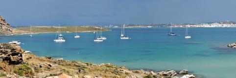 Greece beach, sails and Naousa panorama Royalty Free Stock Image