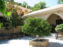 Greece, beautiful courtyard in female abbey Royalty Free Stock Image