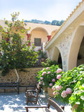 Greece, beautiful courtyard in female abbey Stock Photo