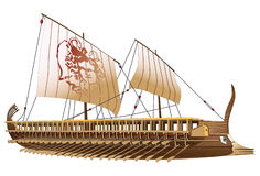 Greece bireme. Detailed image of ancient military ship with two rows of oars and image of Gorgon on sail Stock Photo