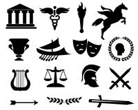 Greece black icons Stock Images