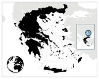 Greece Black Map Stock Photos