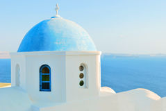 Greece blue church Royalty Free Stock Image