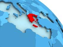 Greece on blue globe. Greece highlighted on blue 3D model of political globe. 3D illustration Stock Images