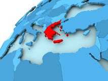 Greece on blue globe. Greece in red on blue model of political globe. 3D illustration Stock Image