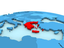Greece on blue globe. Greece in red on simple blue political globe. 3D illustration Stock Photos