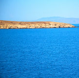 Greece from the boat  islands in mediterranean sea and sky Stock Photos