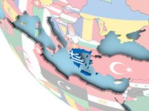 Greece with flag on globe Stock Photo