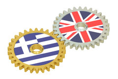 Greece and Britain flags on a gears, 3D rendering. On white background Royalty Free Stock Photography