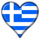 Greece button flag heart shape Royalty Free Stock Photo