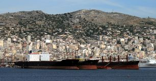 Greece, Cargo Ships Stock Photos