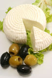 Greece cheese and olives Stock Photography