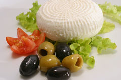 Greece cheese and olives Royalty Free Stock Photo