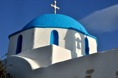 Greece church and bell tower shadow Royalty Free Stock Image