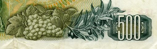 GREECE - CIRCA 1960: grapes and olives on 500 Drachmai 1960 Bank Royalty Free Stock Photography