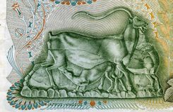 GREECE - CIRCA 1960: Ibex nursing his little baby on 500 Drachma Royalty Free Stock Image