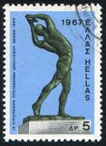 Discus thrower. GREECE - CIRCA 1967: stamp printed by Greece, shows Discus thrower, by C.Demetriades, circa 1967 Stock Photo